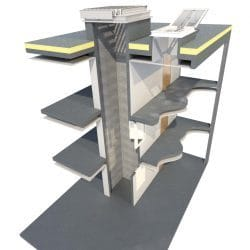 Cross sectional drawing showing a 3 storey building with an AOV Smoke Vent fitted to a flat roof