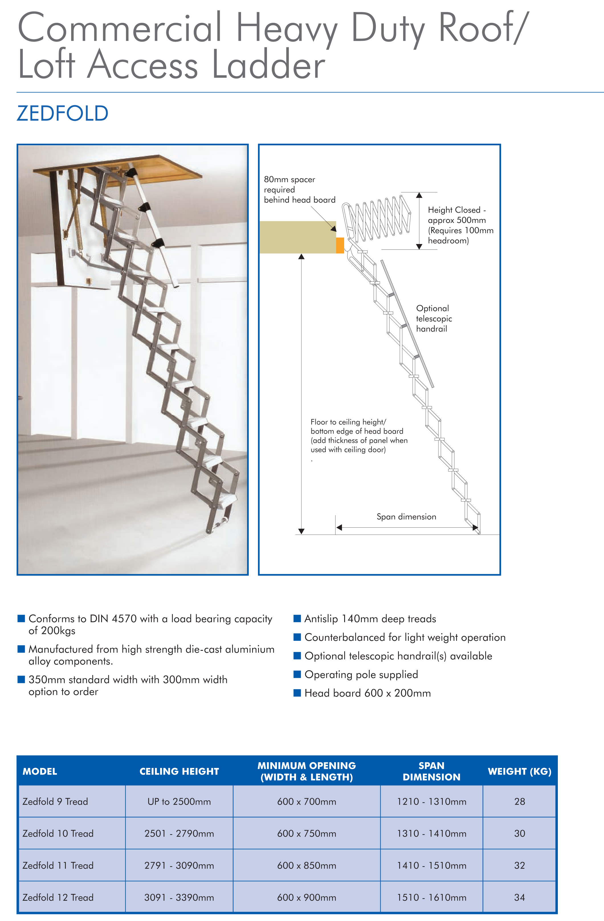 folding loft ladder with concertina zedfolding mechanism   Roof Access Ladder Drawing
