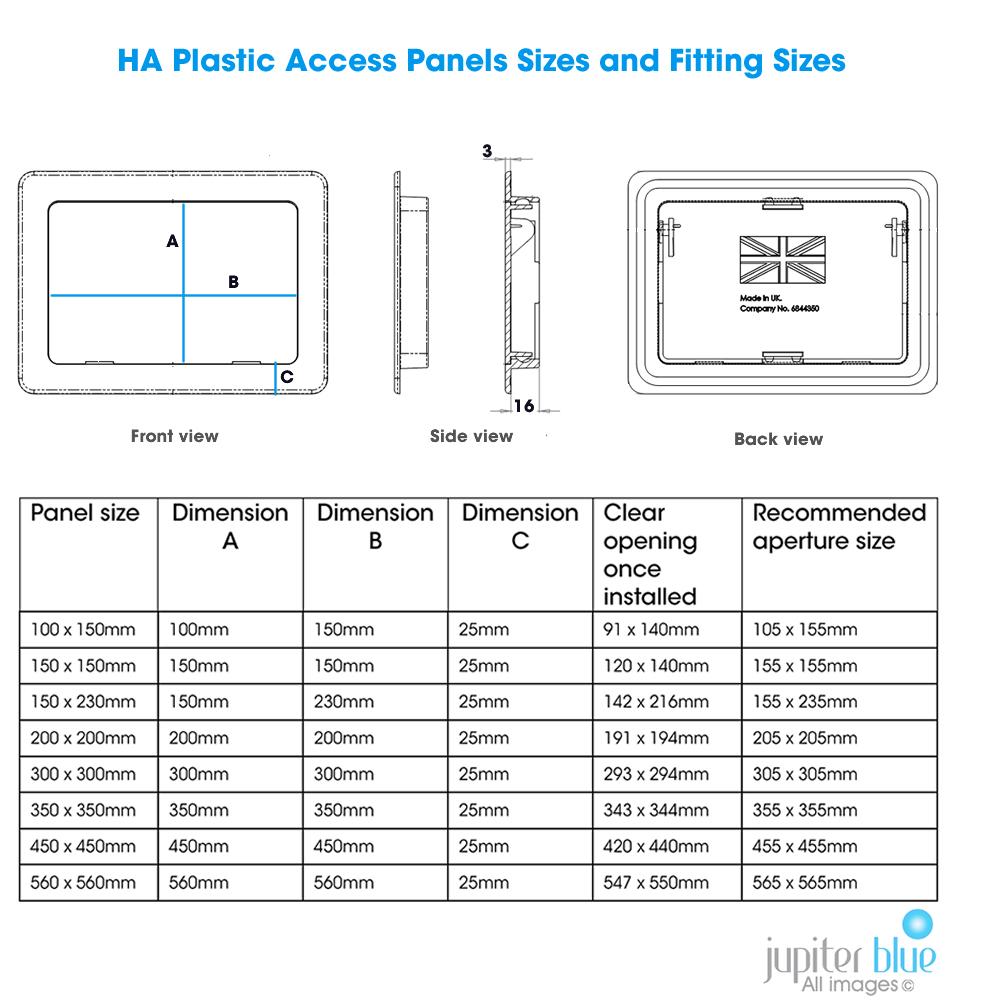 Plastic Access Panels 8 Sizes