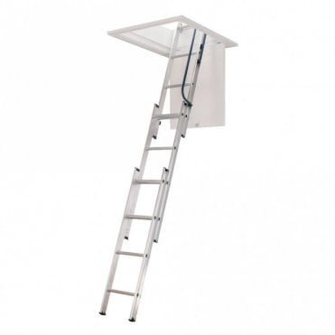 3 Section Loft Ladder with Hand Rail and Easy Stow System - Free pole included