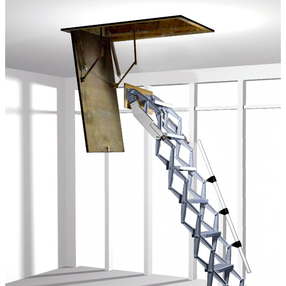 Folding loft ladder with concertina zedfolding mechanism for Folding stairs