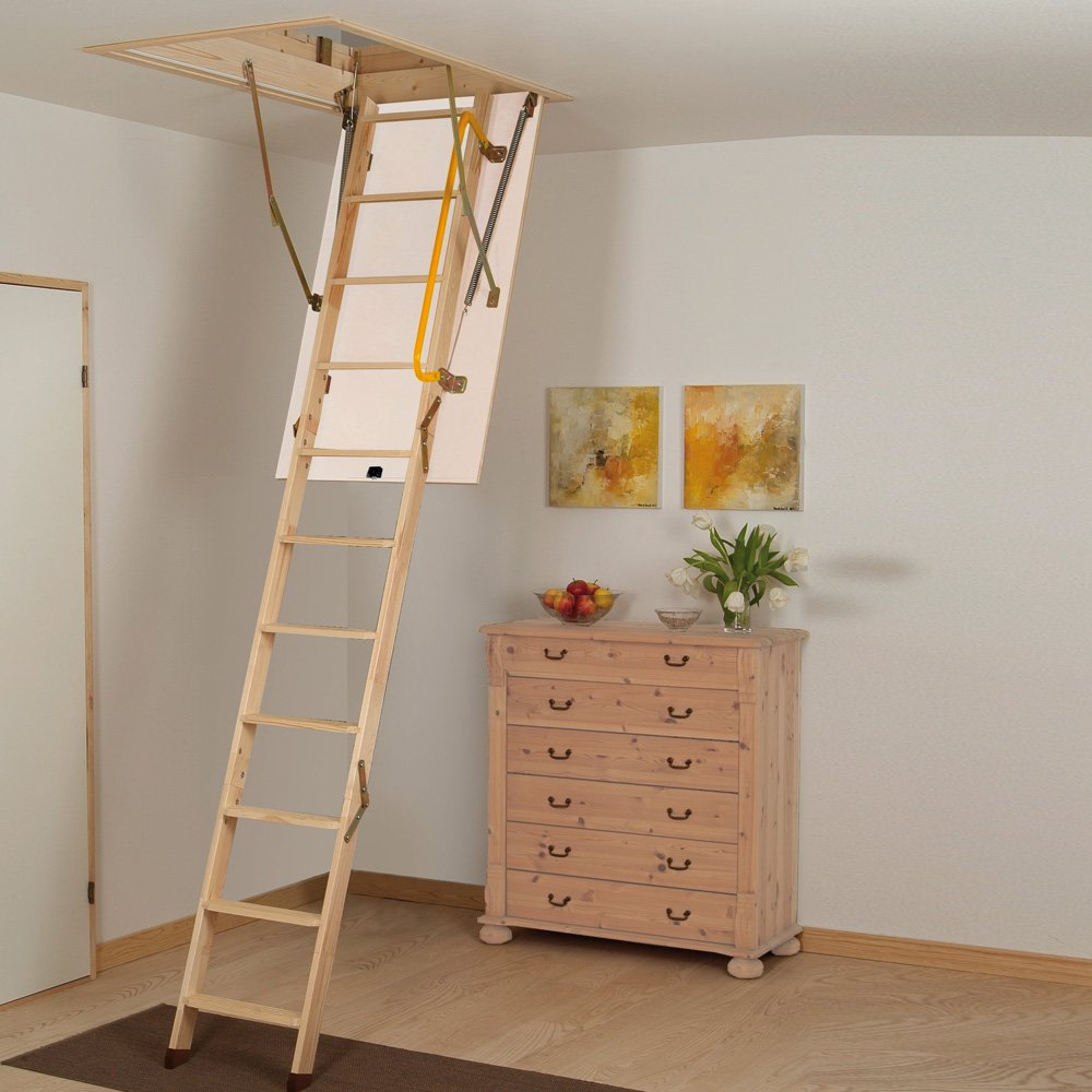 blue attic room ideas - A 3 section folding loft ladder and loft hatch bined